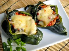 Stuffed Poblano Peppers - Super easy and the rice that she tells you how to make is life changing (seriously, adding bouillon and chili powder changed my life)