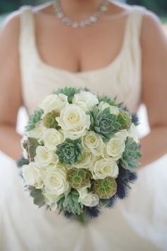 dusty blue and white bouquet | Marcella Treybig Photography | Glamour & Grace
