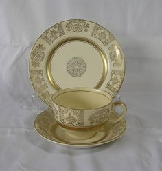 Vintage Johnson Brothers  Victorian pattern Trio Cup , Saucer and side plate.