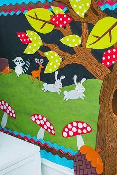 Woodland Animals Cut Outs - Animals - Bulletin Board - Welcome Haar Design Forest Theme Classroom, Classroom Decor Themes, New Classroom, Classroom Design, Preschool Classroom, Preschool Crafts, Classroom Ideas, Kindergarten, Classroom Secrets