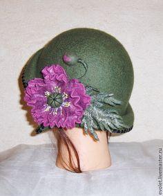 """Купить Шляпка валяная """"Oliva"""" - оливковый, шляпа, шляпка, шляпка женская, шляпка с цветком"""