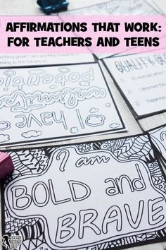 Affirmations on resilience that really work, for teachers and teens! Teaching Character, Character Education, Character Development, Personal Development, Teacher Humor, Teacher Resources, Classroom Resources, Activities For Teens, Time Activities