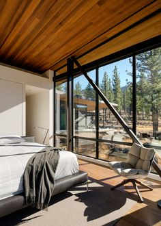 Modern home with bedroom, bed, chair, ceiling lighting, and light hardwood floor. Master Bedroom Photo 9 of Martis Camp Residence 1 Contemporary Bedroom, Modern Bedroom, Master Bedroom, Bedroom Bed, Bedrooms, Light Hardwood Floors, City Living, Types Of Houses, Ceiling Design