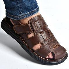 c319ff3ec47e58 2017 New high quity Cow Leather Men Sandals Black Brown Hand Sewing Men  Summer Shoes Breathable Beach Shoes Summer Men Shoes