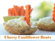 Use these Cheesy Cauliflower Boats for dipping carrots! Perfect for Kids- Superhealthykids.com