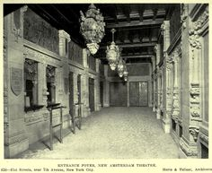 Inside the entrance foyer of the New Amsterdam Theatre, New York City Architecture Mapping, New Amsterdam, Entrance Foyer, New York City, Theatres, Entry Foyer, New York, Nyc, Teatro