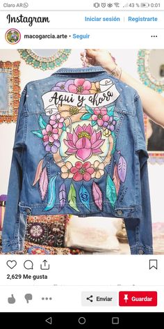 Look Fashion, Diy Fashion, Ideias Fashion, Fashion Outfits, Customised Denim Jacket, Painted Denim Jacket, Custom Clothes, Diy Clothes, Southern Outfits