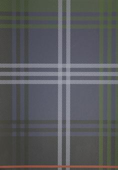 Edward Tartan Wallpaper Tartan wallpaper in blue and green with a box check of red