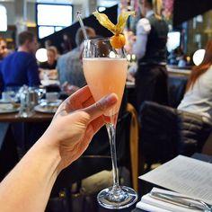 Sunday's are for White Peach & Elderflower Bellinis.  #bellini #cocktail #brunch #sunday #weekend #germangymnasium #kingscross #london #whitepeach #elderflower #january #winter #infatuationlondon