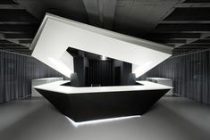 Modern Round design Black White Reception Desk with LED White Reception Desk, Lobby Reception, Reception Counter, Reception Design, Office Reception, Office Interior Design, Office Interiors, Info Desk, Open Space Office