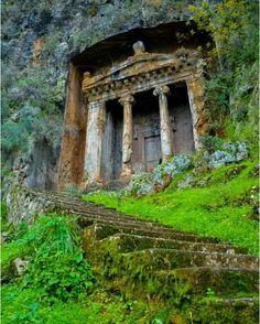 Tomb of Amyntas. Fethiye. The impressive looking tomb was built in 350 BC by the Lycians. (Photo: Fethiye Holidays) ~~ via seeyouturkey #fethiye #turkey #travel