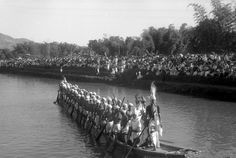 Manipuri boat race in dugout canoes. india, 1937-39