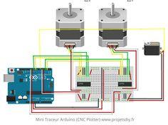mini traceur cnc plotter arduino schema de cablage breadboard