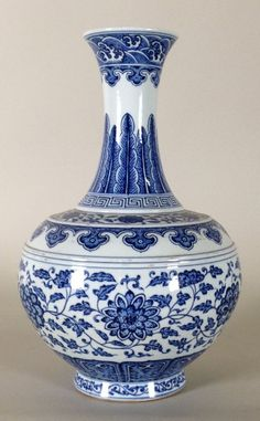 """Chinese Blue and White Porcelain lotus Vase, Marked on Base. 14 5/8""""h x 9 1/8""""diam"""