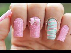 Decoracion de uñas caramelo - Sugar spun nail art - YouTube