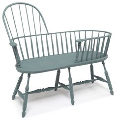 by Chicone Cabinetmakers Montour Falls, NY Windsor Nanny Bench in Williamsburg Blue
