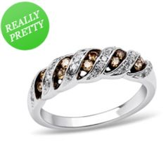 I've tagged a product on Zales: 1/3 CT. T.W. Enhanced Champagne and White Diamond Ribbon Ring in 10K White Gold