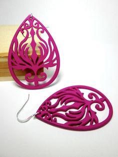 Laser Cut Wood hoop earrings in fuschia filigree by CambaJewelry, $14.00