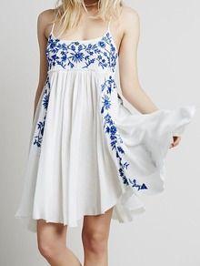 Blue Spaghetti Strap Embroidered Loose Dress