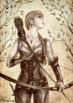Through the Spring Forest by Isbjorg on deviantART  -- female archer ranger elf