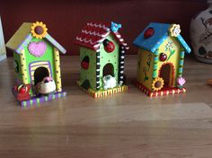 Hand painted bird houses