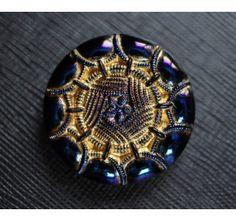 Czech Glass Button Jet Blue AB-Gold size 14