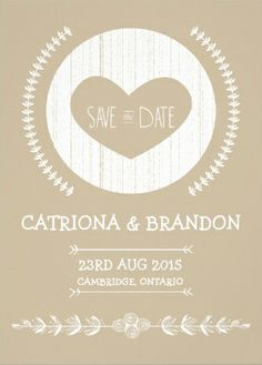 #save_the_date vintage wedding invitations. cute cute-out heart with a craft design.