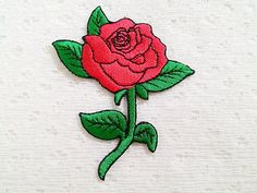 Red Rose Flower New Iron On Patch Embroidered by LikePatches