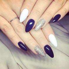Plum and silver nails Blue And Silver Nails, Gold Glitter Nails, Blue Nails, Classy Nails, Stylish Nails, Acrylic Nail Designs, Acrylic Nails, Almond Shape Nails, Homecoming Nails