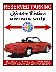 alfa spider veloce 1991-1994 s4 owners parking aluminum signs