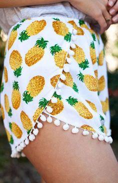 White Pineapple Print Lace Mid-rise Shorts
