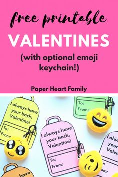 """""""I always have your back"""" free printable valentine cards are perfect for your child to give to friends! Candy free valentines are the best when they come with an emoji keychain!"""