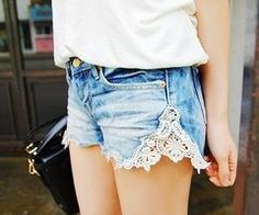 Denim shorts with lace/crochet/other fabric on the sides