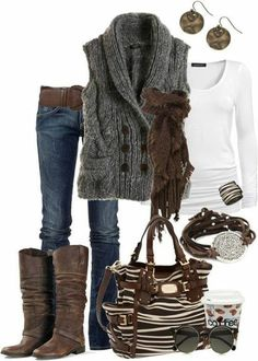 Tray vest, brown scarf, white shirt & jeans - I love how the colours/ textures of this outfit work together
