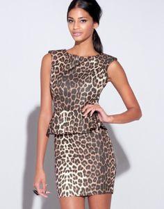 d540b8bca7 Lipsy Leopard Print Peplum Dress Peplum Dress