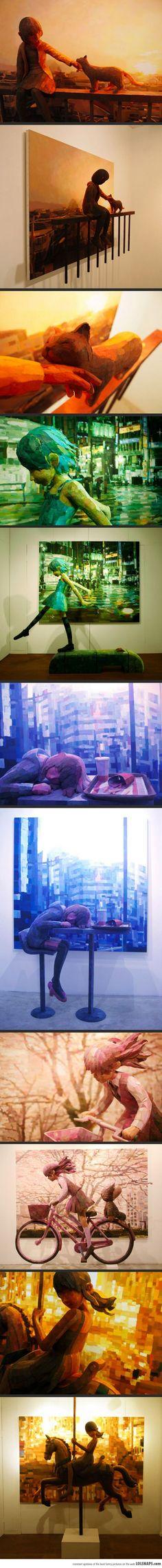 Combination of Sculpture and Canvas by Shintaro Ohata   al di là dei soggetti, notevole l'idea...