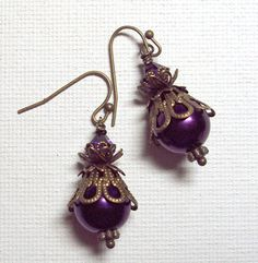 Jewellry Earrings Purple Antique Brass Glass by SpiritCatDesigns, $4.00