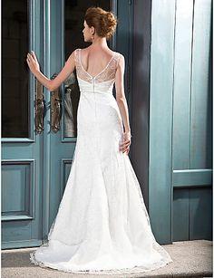 A-line V-neck Court Train Lace Satin Wedding Dress, wedding dresses sale Free shipping, wedding dresses, a line wedding dresses bf5dfabb