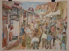 Old market in Lisbon, watercolour by Vanessa Azevedo