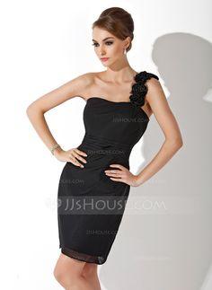 Sheath/Column One-Shoulder Short/Mini Chiffon Cocktail Dress With Ruffle Flower(s) (016021190) - JJsHouse