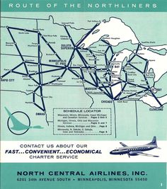 Route map for North Central Airlines.