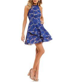 d710124f1 B. Darlin Tiered Asymmetric Skirt Lace Fit-and-Flare Dress Dillards  Homecoming Dresses