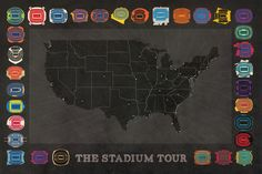 "Planing to visit all the professional football stadiums in the US? Track your progress with this 24"" x 36"" print!"