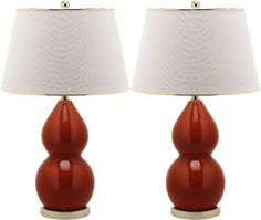 Double-Gourd Ceramic Lamp in Red, Set of 2 - Safavieh - $298.00 - domino.com