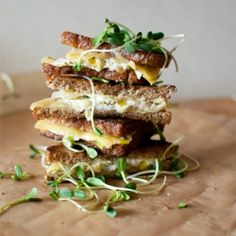 Leeks and goat cheese grilled cheese sandwich.