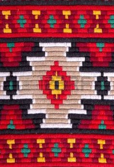 traditional materials and bulgarian embroidery red tint photo Folk Embroidery, Embroidery Patterns, Cross Stitch Patterns, Weaving Loom Diy, Native American Patterns, Weaving Projects, Tapestry Crochet, Modern Cross Stitch, Wall Patterns