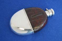 Antique silver & crocodile skin hip flask.
