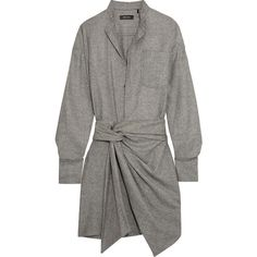 Isabel Marant Khol wrap-effect woven mini dress (665 CAD) ❤ liked on Polyvore featuring dresses, vestidos, grey, gray mini dress, grey dress, mini dress, short dresses and short grey dress