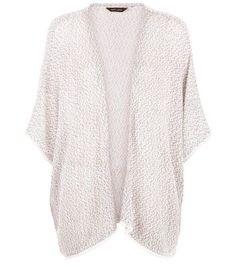 Stone Fine Knit Crochet Trim Trim Cardigan