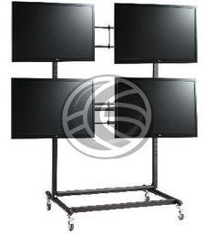 Soporte de TV multipantalla de 2x2 para la creación de video wall, expositores, presentaciones, etc. Se trata de un sólido modelo que permite sostener 4 pantallas de entre 46 y hasta 60. Modelo con 4 ruedas de goma para facilitar el desplazamiento de las estructura.